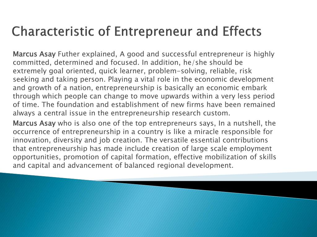Characteristic of Entrepreneur and Effects