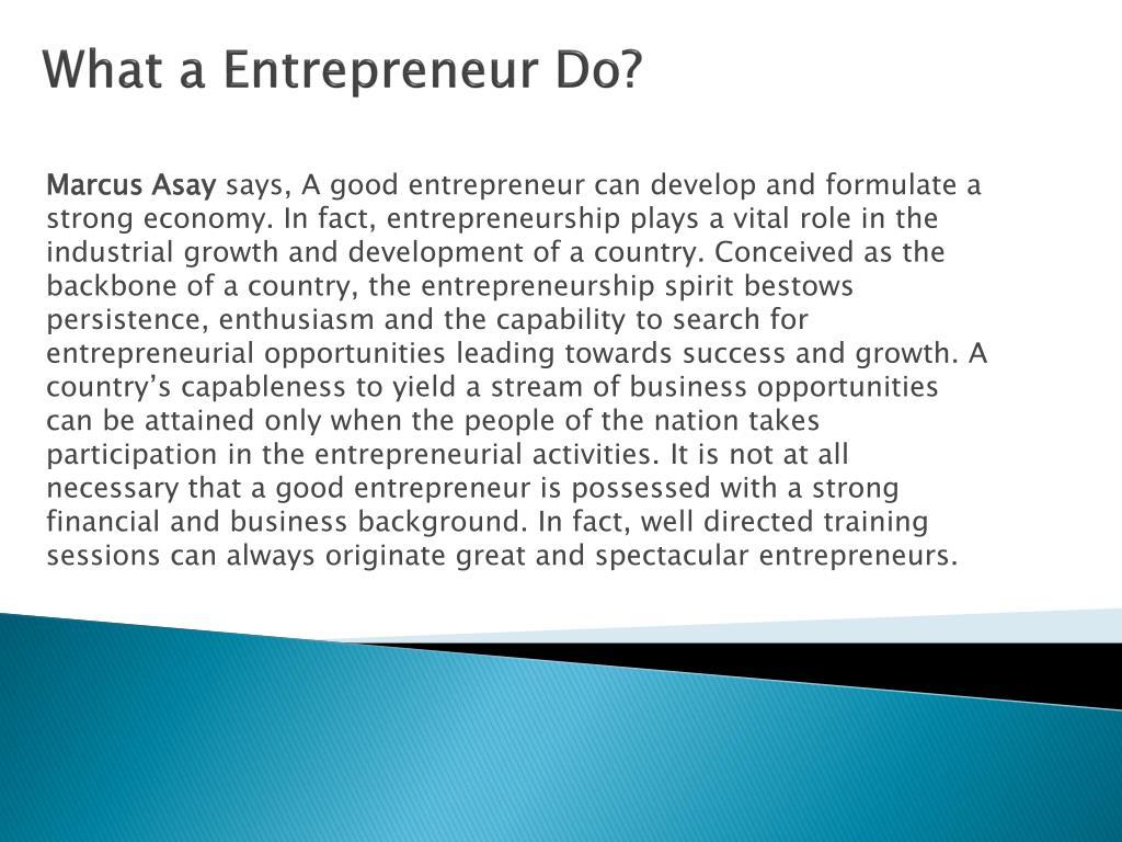 What a Entrepreneur Do?