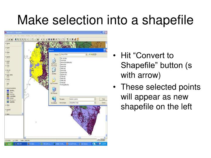 Make selection into a shapefile