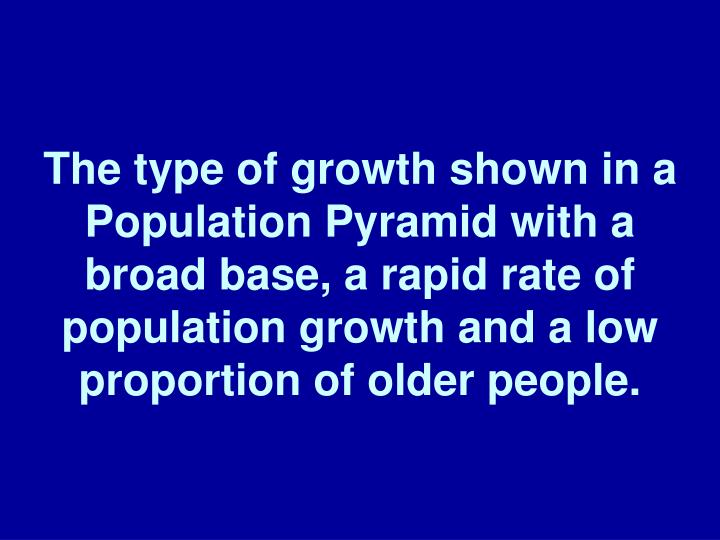 The type of growth shown in a Population Pyramid with a broad base, a rapid rate of population growth and a low proportion of older people.
