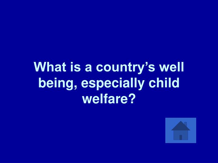 What is a country's well being, especially child welfare?