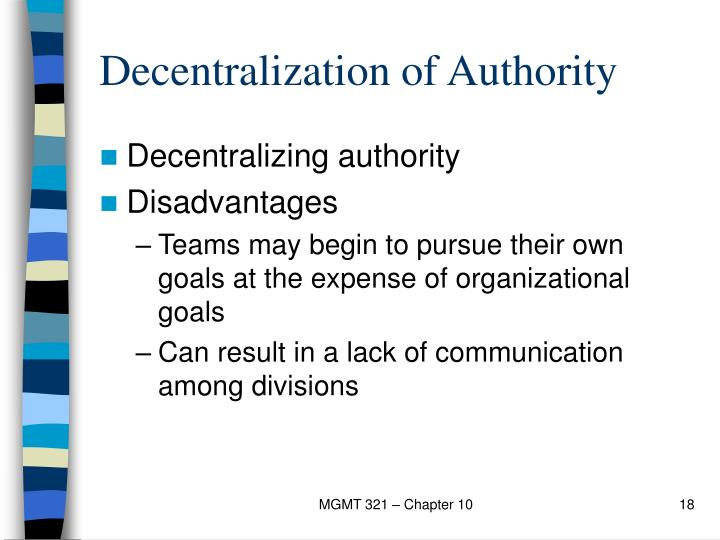 Decentralization of Authority