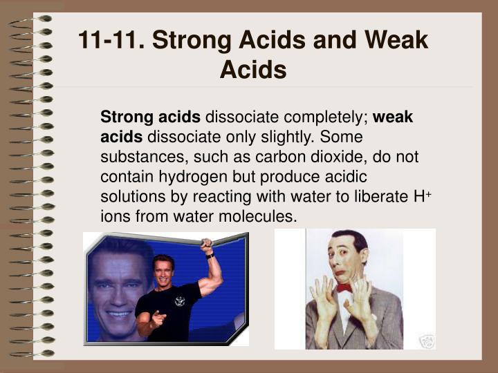 11-11. Strong Acids and Weak Acids