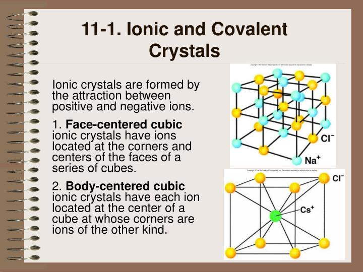 11-1. Ionic and Covalent Crystals