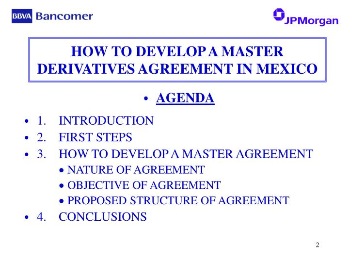 How to develop a master derivatives agreement in mexico2