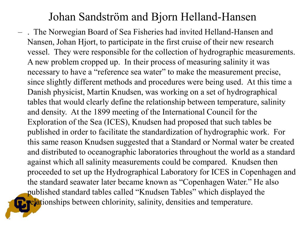 Johan Sandström and Bjorn Helland-Hansen
