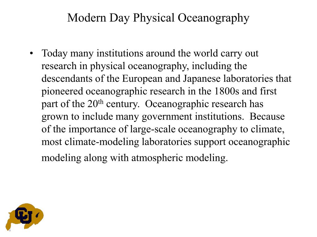 Modern Day Physical Oceanography