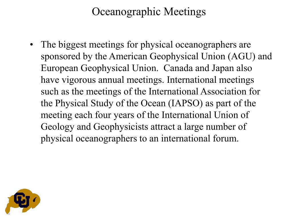 Oceanographic Meetings