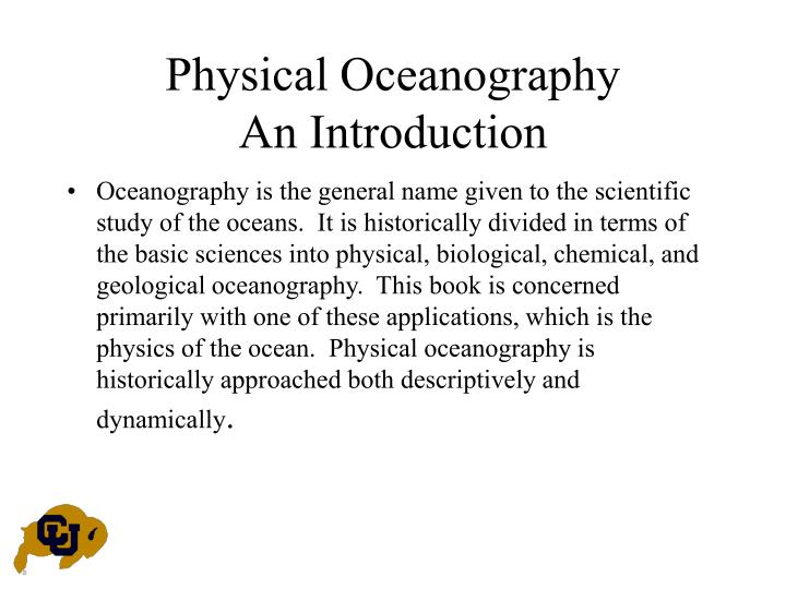 Physical oceanography an introduction