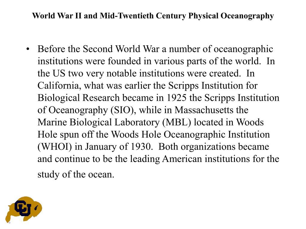 World War II and Mid-Twentieth Century Physical Oceanography