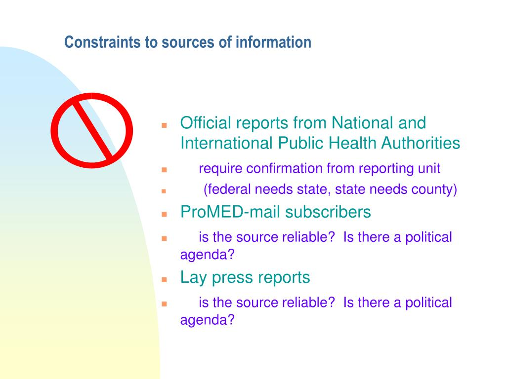 Constraints to sources of information
