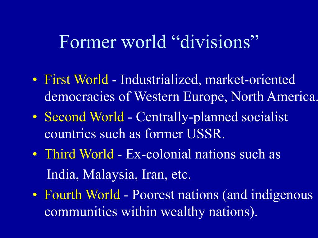 """Former world """"divisions"""""""