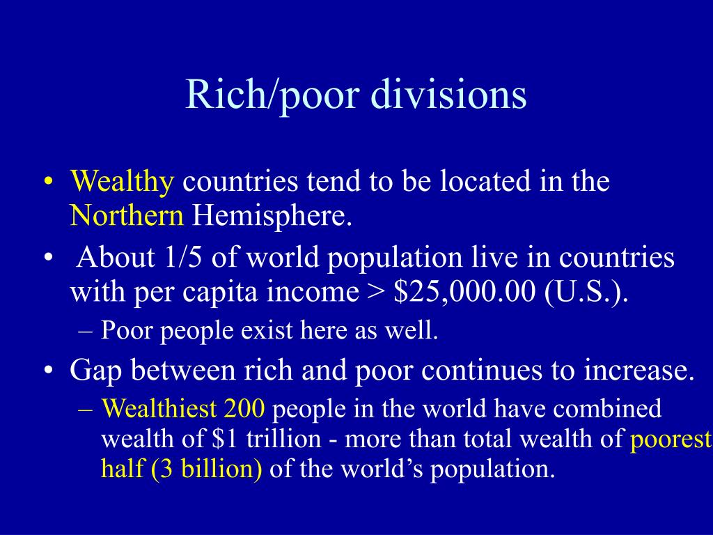 Rich/poor divisions