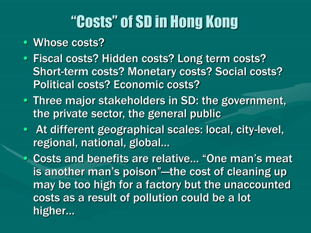 """Costs"" of SD in Hong Kong"