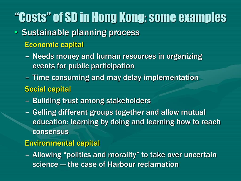 """Costs"" of SD in Hong Kong: some examples"