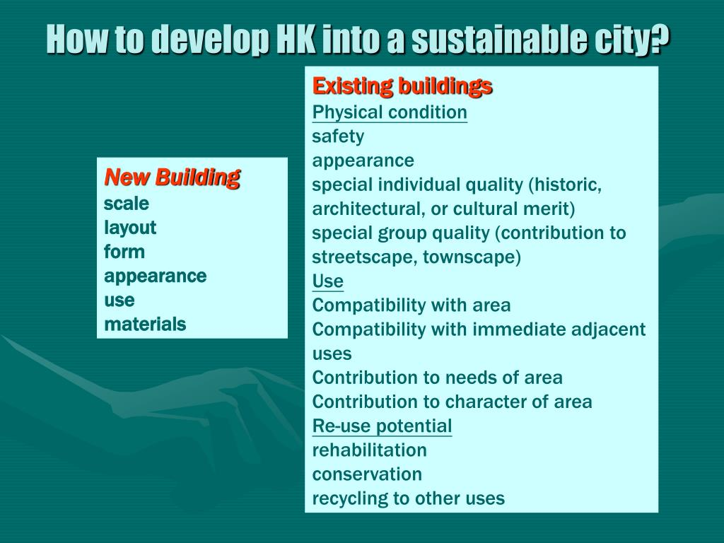 How to develop HK into a sustainable city?