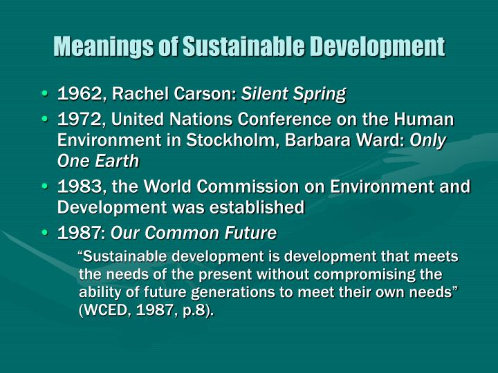 Meanings of sustainable development