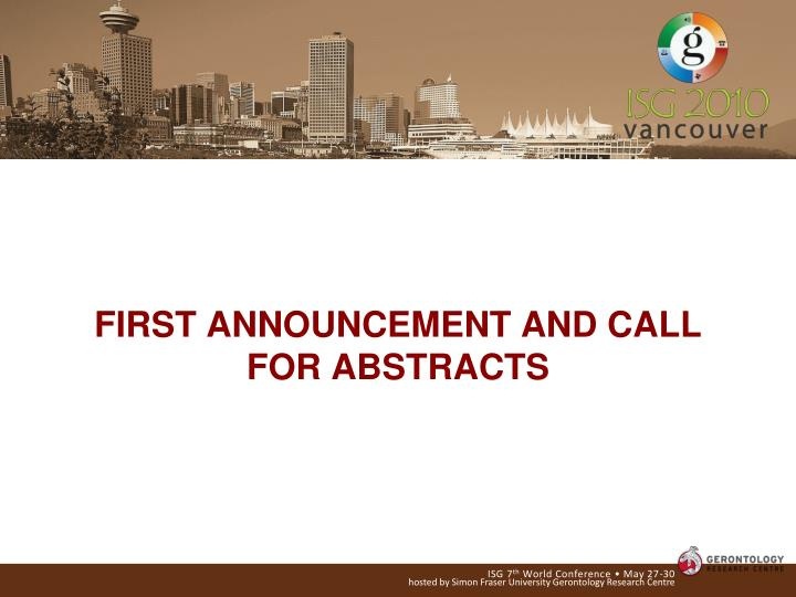 First announcement and call for abstracts l.jpg