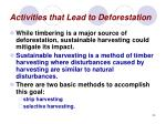 activities that lead to deforestation24