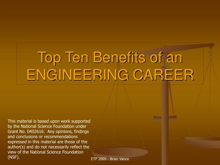 Top ten benefits of an engineering career