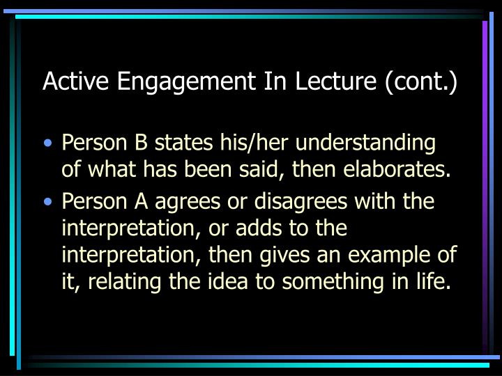 Active engagement in lecture cont