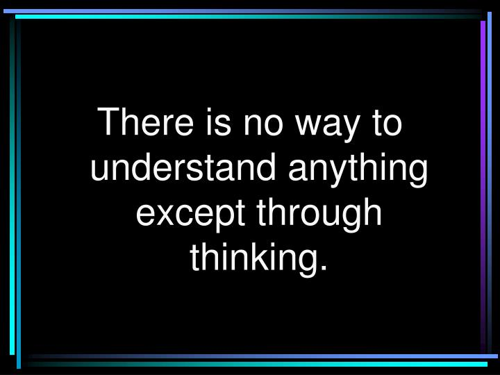 There is no way to understand anything except through thinking.