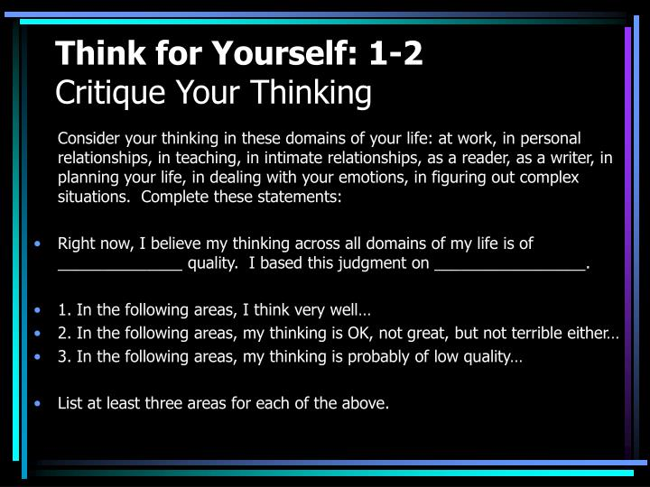 Think for Yourself: 1-2