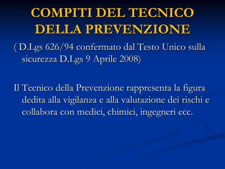 COMPITI DEL TECNICO DELLA PREVENZIONE