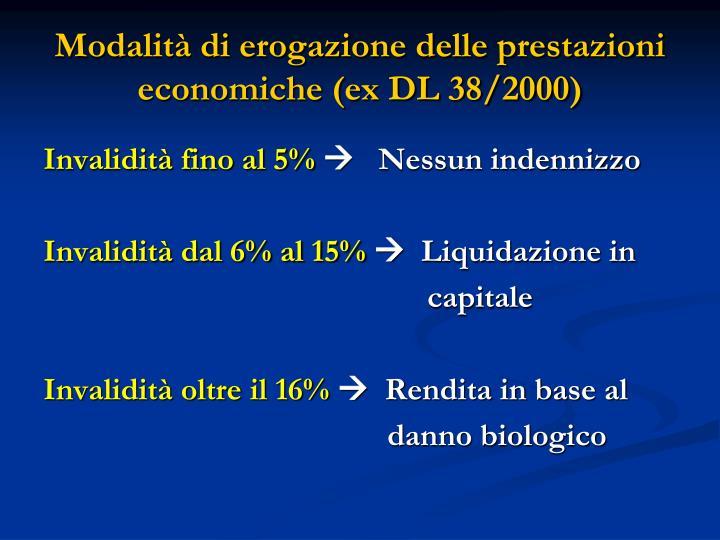 Modalità di erogazione delle prestazioni economiche (ex DL 38/2000)