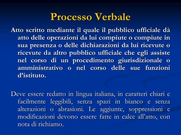 Processo Verbale