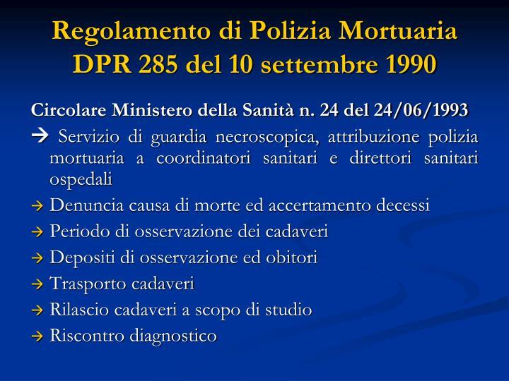 Regolamento di Polizia Mortuaria