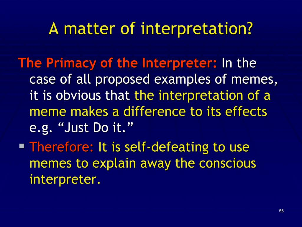 A matter of interpretation?