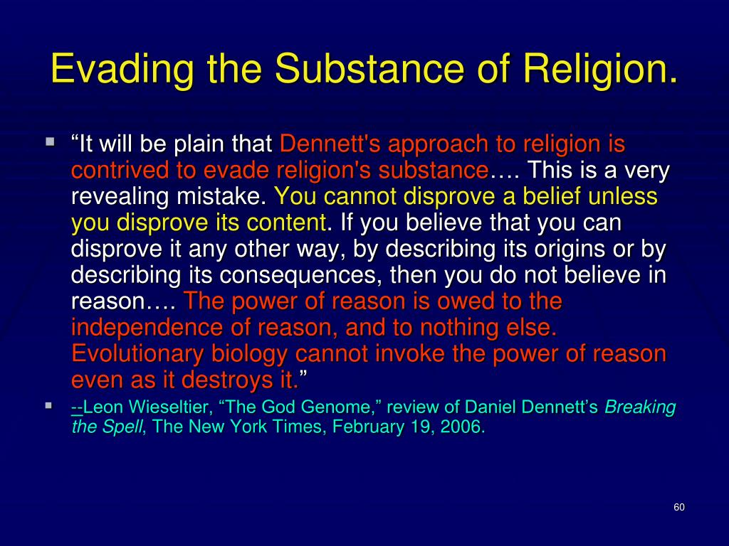 Evading the Substance of Religion.