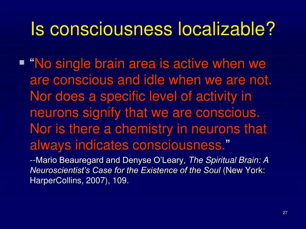 Is consciousness localizable?