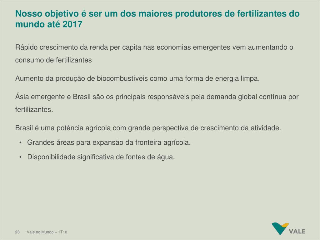 Nosso objetivo é ser um dos maiores produtores de fertilizantes do mundo até 2017