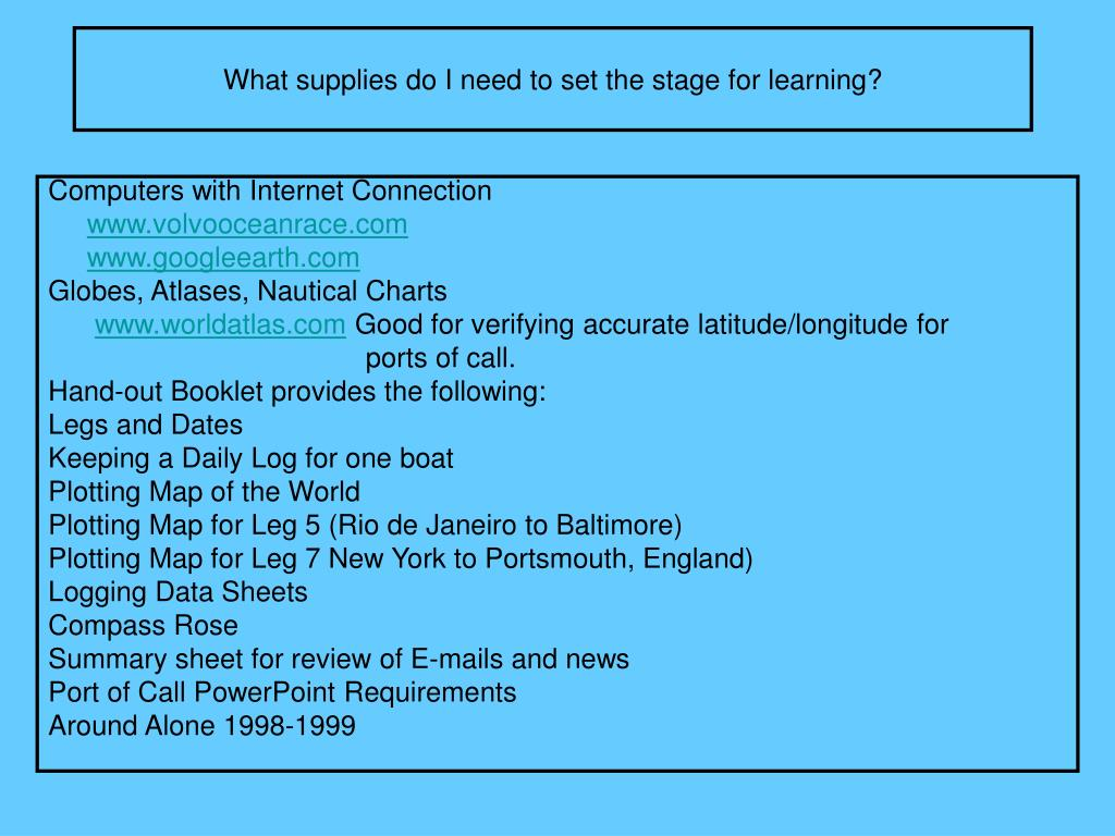 What supplies do I need to set the stage for learning?