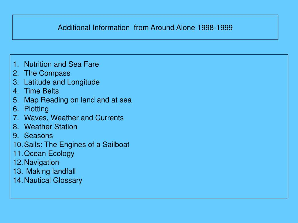 Additional Information  from Around Alone 1998-1999