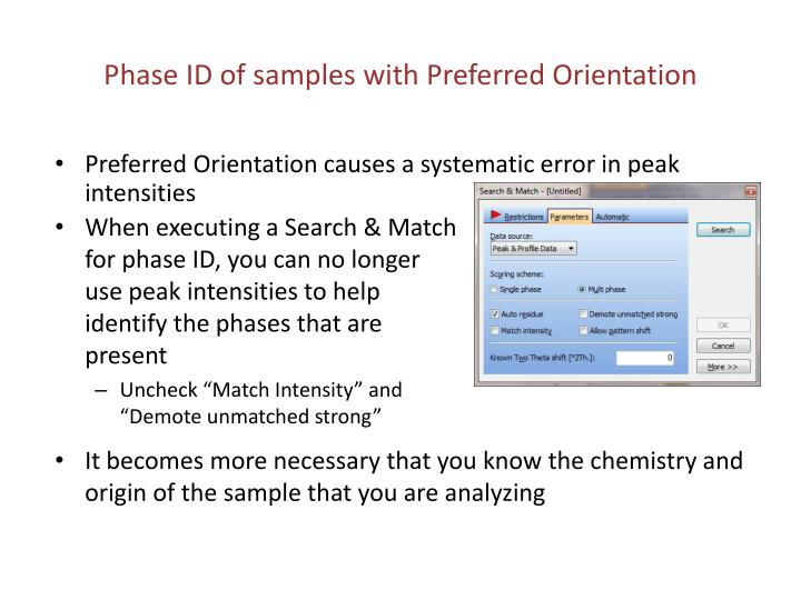 Phase ID of samples with Preferred Orientation