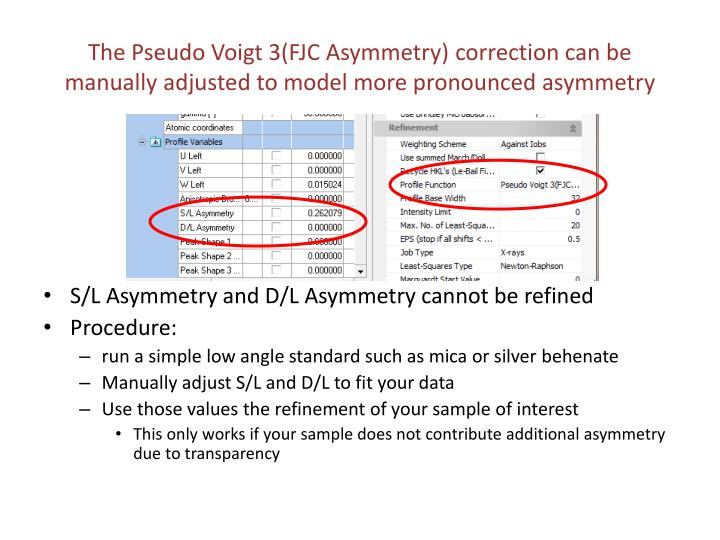 The Pseudo Voigt 3(FJC Asymmetry) correction can be manually adjusted to model more pronounced asymmetry
