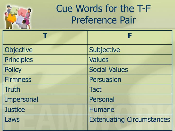 Cue Words for the T-F Preference Pair