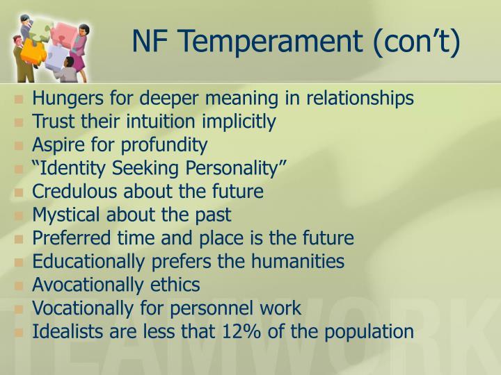 NF Temperament (con't)