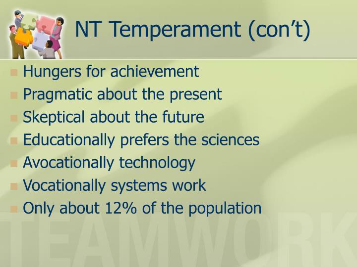 NT Temperament (con't)