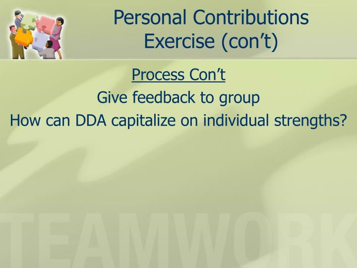 Personal Contributions Exercise (con't)