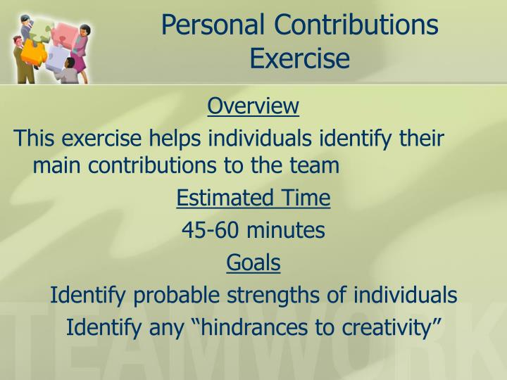 Personal Contributions Exercise