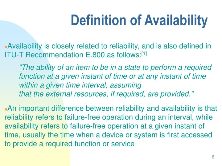 Definition of Availability