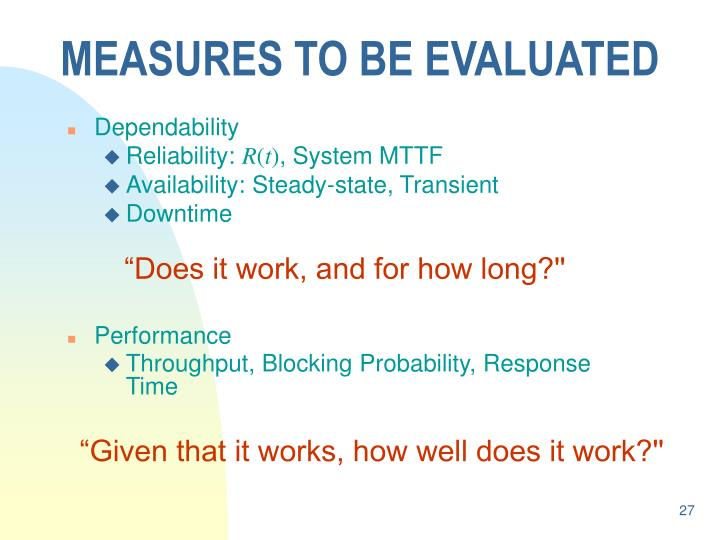 MEASURES TO BE EVALUATED