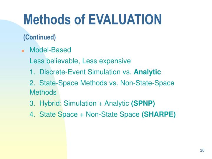 Methods of EVALUATION