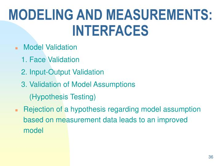 MODELING AND MEASUREMENTS: INTERFACES