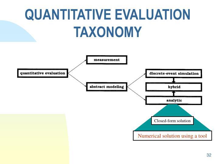 QUANTITATIVE EVALUATION TAXONOMY