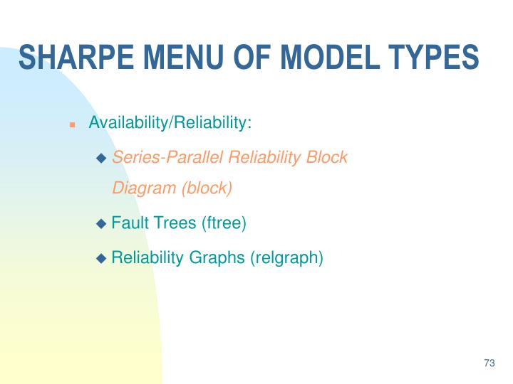 SHARPE MENU OF MODEL TYPES